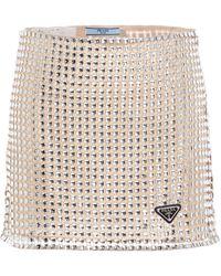 Prada Mini Embroidered Skirt In Sequined Mesh Fabric - Metallic