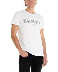 Balmain T-Shirt Bianca Stampa Logo Nera - Bianco