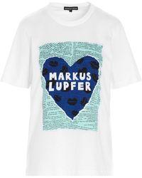 Markus Lupfer - 'alex Heart Lip Collage' T-shirt - Lyst