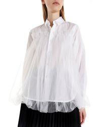 Noir Kei Ninomiya Tulle Applications Cotton Shirt - White