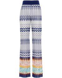 Missoni Pantalone viscosa gamba ampia - Blu