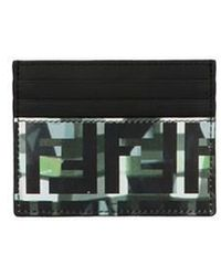 Fendi Black And Green Forever Camouflage Card Holder