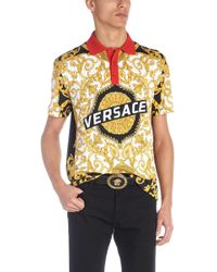Versace - Polo stampa barocca - Lyst