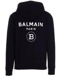 Balmain Printed Logo Hoodie - Blue
