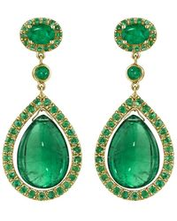 Mimi So Couture Emerald Drop Earrings - Green