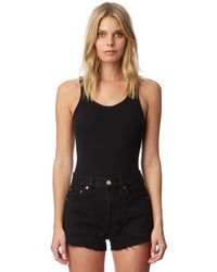 RE/DONE - Black Ribbed Tank Top Bodysuit - Lyst