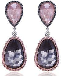 Mimi So Couture Sapphire Drop Earrings - Purple