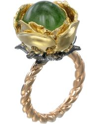 Sylvie Corbelin - Emerald Rose Flower Ring - Lyst