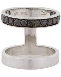 Campbell Double Stack Ring With Black Diamonds - Metallic