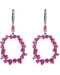 Nina Runsdorf | Jagged Edge Ruby Earrings | Lyst