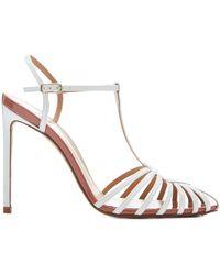 Francesco Russo - Cage White Patent Heel Sandal - Lyst