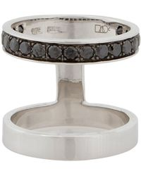 Campbell - Double Stack Ring With Black Diamonds - Lyst