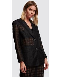 Marco De Vincenzo - Black Checked Tulle Jacket - Lyst