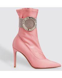Alexandre Vauthier Joan Pink Lycra Calf Boot