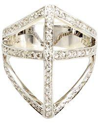 Campbell Diamond Shield Ring - Metallic