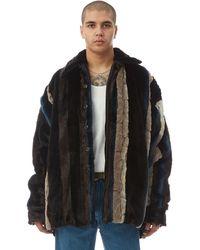 Y. Project - Faux Fur Blue Striped Shirt Jacket - Lyst