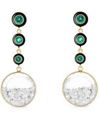 Moritz Glik Triple Drop Emerald And Diamond Earrings - Metallic