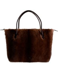 The Row Lux Coffee Mink Satchel - Brown