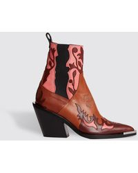 Paco Rabanne Chelsea Boots In Rose Cognac - Red