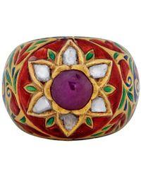 Royal Thai - Thai Peacock Ring With Ruby & Rose Diamonds - Lyst