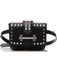 810b68b4ee15 Prada Studded Cahier Bag in Black - Lyst