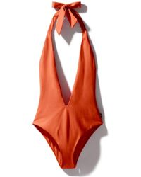 Kampos Plunge Swimsuit Coral - Multicolor