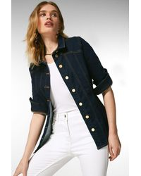 Karen Millen Corset Seam Denim Jacket - Blue