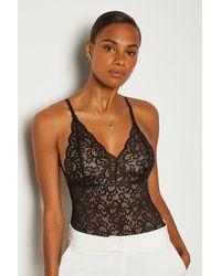 Karen Millen Strappy Lace Multi Cross Back Body - Black