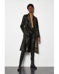 Karen Millen Printed Pony Wrap Coat Black