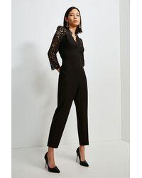 Karen Millen Italian Lace Long Sleeve Forever Jumpsuit - Black