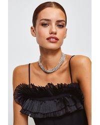 Karen Millen Diamante Statement Necklace - Metallic