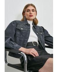 Karen Millen Puff Sleeve Denim Jacket - Black