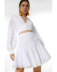Karen Millen Cotton Broderie Frill Hem Mini Skirt Co-ord - White