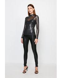 Karen Millen Faux Leather Jersey Leggings - Black