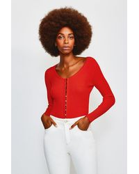Karen Millen V Neck Button Through Cardigan - Red