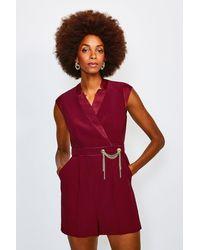 Karen Millen Chain Detail Cap Sleeve Playsuit - Red