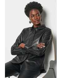 Karen Millen Leather Shirt Black