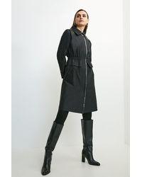 Karen Millen Pu Detail Peplum Trench Coat - Black