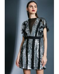 Karen Millen Sequin Fluted Sleeve Dress - Metallic