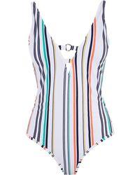 Karen Millen - Striped Swimsuit - Lyst