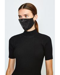 Karen Millen Fashion Sequin Face Mask - Black