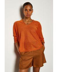 Karen Millen V Neck Knitted Jumper - Orange