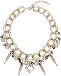 Karen Millen - Crystal Tassel Necklace - Lyst