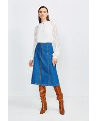 Karen Millen Zip Front Denim Midi Skirt - Blue