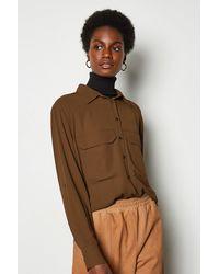Karen Millen Long Sleeve Utility Shirt Rust - Orange