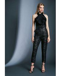 Karen Millen Snake Jacquard Trousers - Black