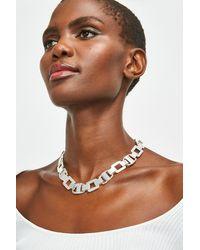 Karen Millen Plated New Chain Link Necklace - Metallic