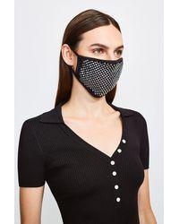 Karen Millen Fashion Diamante Face Mask - Black