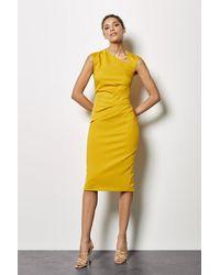 Karen Millen Asymmetric Tuck Pencil Dress - Yellow