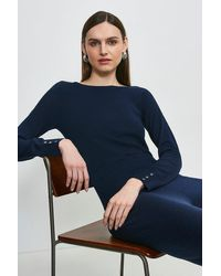 Karen Millen Silk Blend Boat Neck Jumper - Blue